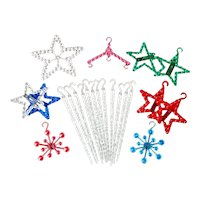 Lot Vintage Beaded Plastic Christmas Ornaments Icicles