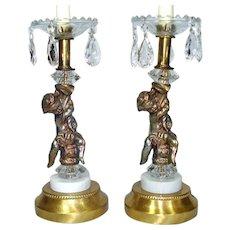 Pair Hollywood Regency Cherub Prisms Table Lamps