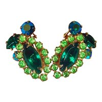 Beau Jewels Green Marquise Rhinestone Clip Earrings