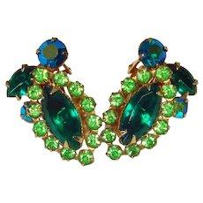 Beau Jewels Green Marquise Rhinestone Clip Earrings