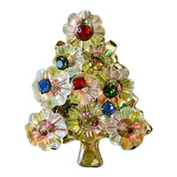 AB Margarita Rhinestone Christmas Tree Brooch Pin