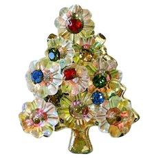 AB Margarita Rhinestone Christmas Tree Brooch Pin