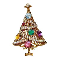 Christmas Tree With Garland Rhinestone Brooch Pin