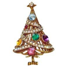 Christmas Tree With Garland Rhinestone Brooch Pin