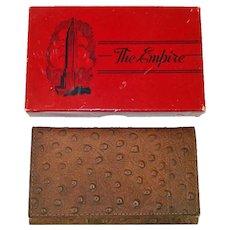 1942 Empire Ostrich Leather Billfold Wallet in Original Box