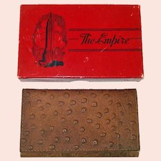 1942 Empire Ostrich Leather Billfold Wallet in Original Box