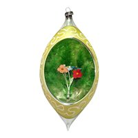 Teardrop Diorama Glass Christmas Ornament Flowers Inside