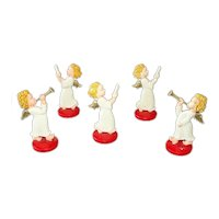 German Hard Plastic Standing Angel Christmas Figure Ornaments