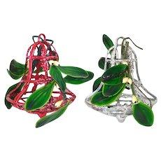 1950s Bradford Mistletoe Kissing Bell Christmas Ornaments