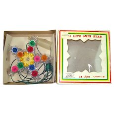 Lighted Tinsel Mini Star Christmas Tree Topper in Box