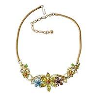 Coro Colorful Rhinestone Flower Necklace