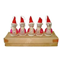 Box Whimsy Santa Glass Chenille Christmas Ornaments