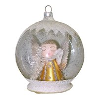 Angel Dimensional Dome Scene Glass Christmas Ornament