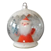 Composition Santa Dome Scene Glass Christmas Ornament