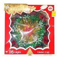Bradford Lighted Christmas Tree Topper Poinsettias Tinsel in Box