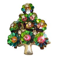 Margarita Watermelon Rhinestone Christmas Tree Brooch Pin