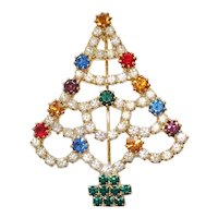 Multi Color Rhinestone Christmas Tree Brooch Pin