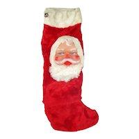Bijou Toys Plush Fur Christmas Stocking With Rubber Santa Face