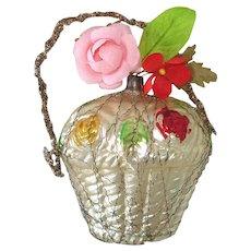 Fancy Flower Basket West German Christmas Ornament