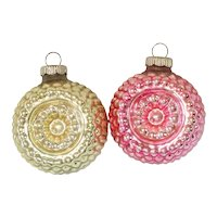 Shiny Brite Bumpy Flower Indent Glass Christmas Ornaments