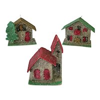 1950s Mica Cardboard Mini Christmas Putz Village Ornaments
