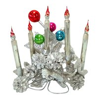Mercury Glass Candle Pinecones Christmas Centerpiece Display