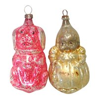 1930s German Miss Muffet, Dog Glass Christmas Ornaments