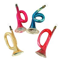 4 German Blown Glass Horn Christmas Ornaments