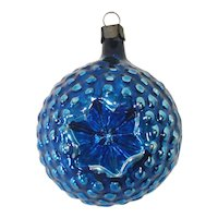 Cobalt Blue Bumpy Star Indent Antique Glass Christmas Ornament