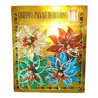 Pack Metallic Foil Bead Flowers Christmas Package Ties