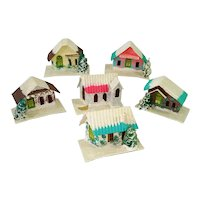 1950s Cardboard Christmas Village Houses Set of 6