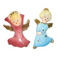 1950s Yona Angels Porcelain Christmas Ornaments Wall Hangers