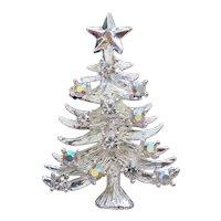 Aurora Rhinestone Silvertone Christmas Tree Pin Brooch