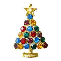 Colorful Rhinestone Studded Christmas Tree Brooch Pin