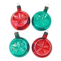 1940s Premier Glass Double Indent Christmas Ornaments