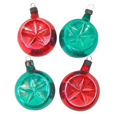 1940s Premier Glass Double Indent Christmas Ornaments