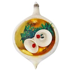 Italy Sugar Bells Large Diorama Indent Scene Glass Christmas Ornament
