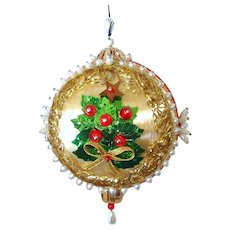 Christmas Tree 1970s Pin Beaded Sequin Ornament