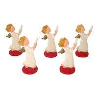 German Hard Plastic Standing Angel Christmas Figure Ornaments
