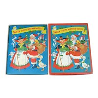 1953 Christmas Pop Up Santa Mother Goose Book In Box With Toys