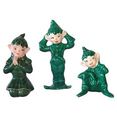 Three 1950s Gilner Pixie Elf Figurines