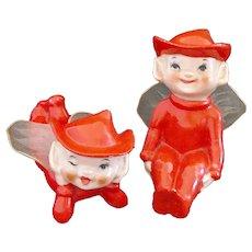 Japan 1950s Red Porcelain Pixie Elf Figurines Tulle Wings