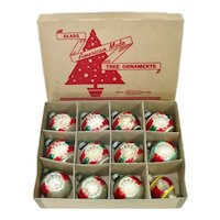 Box Shiny Brite Double Indent Glass Christmas Ornaments