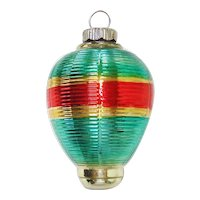 Shiny Brite 1930s Ribbed Lantern Glass Christmas Ornament Shaded Colors
