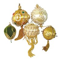 Elaborate Pin Beaded Christmas Ornaments Set 5