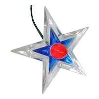 Red Blue Noma Glo Star Lighted Lucite Christmas Tree Topper