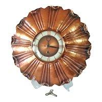 1950s Gregorian Copper Sunburst Wall Clock