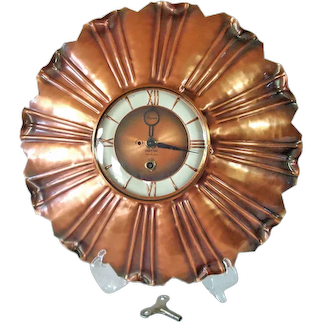 1950s Gregorian Copper Wall Clock