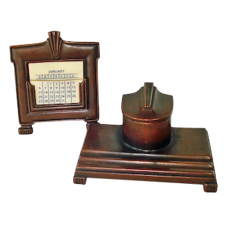 Jennings Bronze Arts Crafts Inkwell, Perpetual Desk Calendar