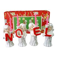 Commodore Noel Christmas Angels 1950s Candle Holders Boxed Set